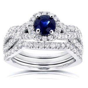White Gold Round Sapphire and 7/8ct TDW Halo Diamond Criss Cross 3 Piece Brid - Handcrafted By Name My Rings™
