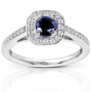White Gold Round-cut Blue Sapphire and Diamond Halo Ring - Handcrafted By Name My Rings™