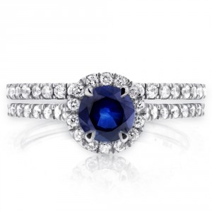 White Gold Round-cut Sapphire and 1/2ct TDW Diamond Halo Bridal Set - Handcrafted By Name My Rings™