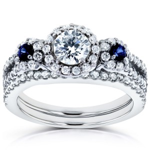 White Gold Sapphire and 1ct TDW Diamond Halo Three Stone Bridal Set - Handcrafted By Name My Rings™