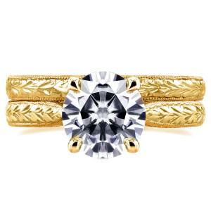 Gold 1 1/2ct TGW Moissanite and Diamond Antique Cathedral Bridal Rings - Handcrafted By Name My Rings™