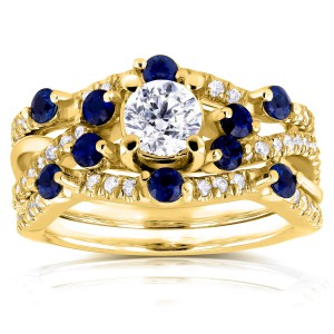 Gold 1 1/3ct TCW Diamond and Blue Sapphire Double Bands Bridal Set - Handcrafted By Name My Rings™