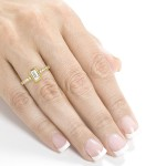 Gold 1 1/4ct TDW Emerald Cut Diamond Antique Ring - Handcrafted By Name My Rings™