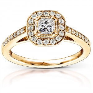 Gold 1/2ct TDW Diamond Halo Engagement Ring - Handcrafted By Name My Rings™