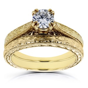 Gold 1/2ct TDW Round Diamond Vintage Bridal Set - Handcrafted By Name My Rings™