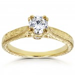 Gold 1/2ct TDW Round Diamond Vintage Engagement Ring - Handcrafted By Name My Rings™