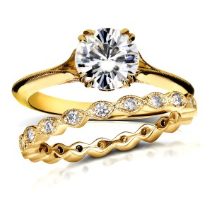 Gold 1ct Round Moissanite and 2/5ct TDW Diamond Floral Antique Bridal - Handcrafted By Name My Rings™