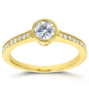 Gold 3/4ct TDW Bezel Diamond Milgrain Engagement Ring - Handcrafted By Name My Rings™