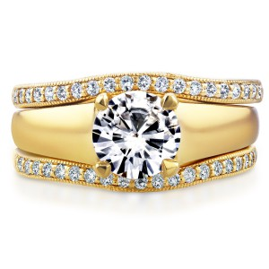 Gold Round Cut Moissanite Solitaire and 1/3ct TDW Diamond Bands 3-Piec - Handcrafted By Name My Rings™