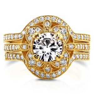 Gold Round Moissanite and 5/8ct TDW Diamond 3-Piece Floral Antique Bri - Handcrafted By Name My Rings™