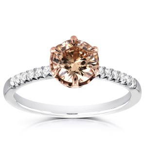 Two Tone Gold 1 1/8ct TDW Champagne Brown and White Diamond Ring - Handcrafted By Name My Rings™