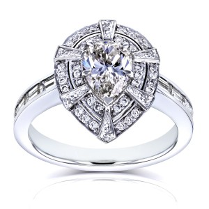 White Gold 1 7/8ct TDW Vintage Victorian Teardrop Diamond Engagement Ring - Handcrafted By Name My Rings™