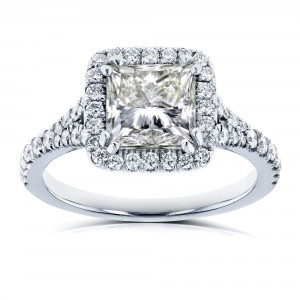 Certified White Gold 2 4/5ct TDW Princess Diamond Halo Engagement Ring - Handcrafted By Name My Rings™