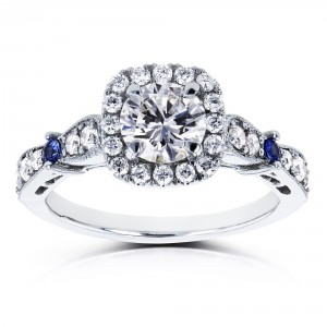 Certified Platinum 1 1/5ct TCW Diamond and Sapphire Vintage Style Halo Engagement Ring - Handcrafted By Name My Rings™