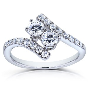 Two Collection White Gold 1ct TDW Diamond 2-stone Curved Ring - Handcrafted By Name My Rings™