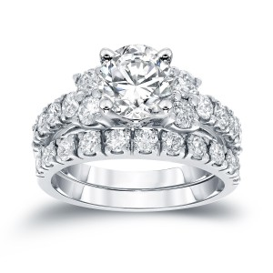 White Gold 2ct TDW Round Diamond Engagement Bridal Ring Set - Handcrafted By Name My Rings™