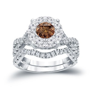 1 1/5ct TDW Cluster Brown Diamond Braided Bridal Ring Set - Handcrafted By Name My Rings™