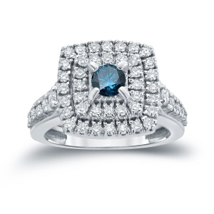 1 2/5ct TDW Round Blue Diamond Cluster Engagement Ring - Handcrafted By Name My Rings™