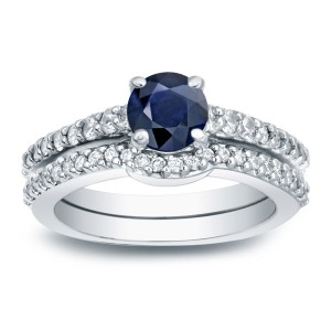 1/2ct Blue Sapphire and 1/2ct TW Round Diamonds Engagement Ring - Handcrafted By Name My Rings™