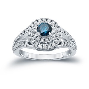 1ct TDW Round Blue Diamond Cluster Engagement Ring - Handcrafted By Name My Rings™