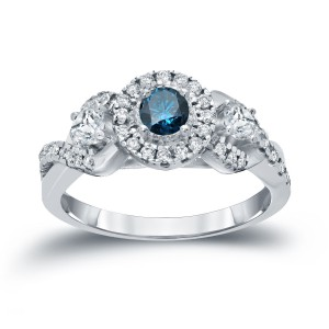 3/5ct TDW Halo Blue Diamond Engagement Ring - Handcrafted By Name My Rings™