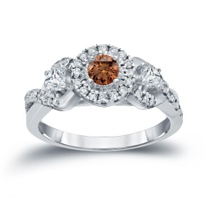 3/5ct TDW Halo Brown Diamond Engagement Ring - Handcrafted By Name My Rings™