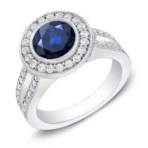 Gold 1 1/2ct Blue Sapphire and 3/5ct TDW Round Diamond Halo Engagement Ring - Handcrafted By Name My Rings™