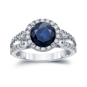 Gold 1 1/2ct Blue Sapphire and 4/5ct TDW Round Cut Diamond Halo Engagement Ring - Handcrafted By Name My Rings™