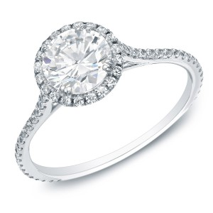 Gold 1 1/2ctTDW Certified Round Diamond Halo Engagement Ring - Handcrafted By Name My Rings™