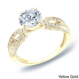 Gold 1 1/4 ct TDW Certified Round Diamond Engagement Ring - Handcrafted By Name My Rings™