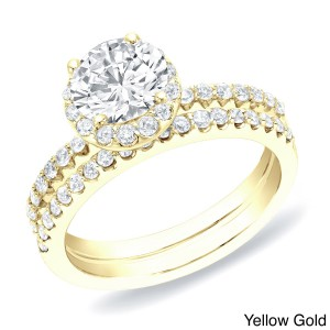 Gold 1 1/4 ct TDW Certified Round Diamond Halo Bridal Ring Set - Handcrafted By Name My Rings™