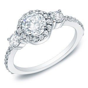 Gold 1 1/4ct TDW Round Diamond Halo Engagement Ring - Handcrafted By Name My Rings™