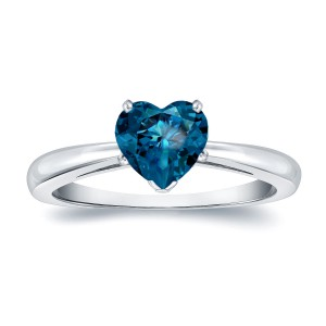 Gold 1 1/6ct TDW Heart Shaped Blue Diamond Solitaire Engagement Ring - Handcrafted By Name My Rings™