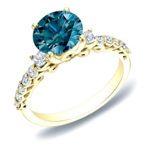 Gold 1 2/5ct TDW Blue and White Round Diamond Ring - Handcrafted By Name My Rings™