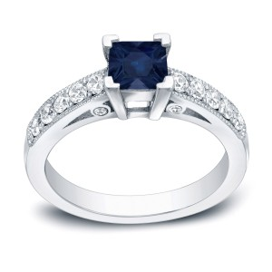 Gold 1/2ct Blue Sapphire and 1/2ct TDW Diamond Ring - Handcrafted By Name My Rings™