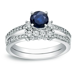 Gold 1/2ct Blue Sapphire and 1/2ct TDW Round Diamond Bridal Ring Set - Handcrafted By Name My Rings™