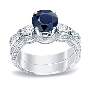 Gold 1/2ct Blue Sapphire and 1/3ct TDW Round Diamonds Engagement Ring - Handcrafted By Name My Rings™