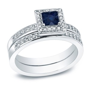 Gold 1/2ct Blue Sapphire and 1ct TDW  Halo Engagement Ring - Handcrafted By Name My Rings™