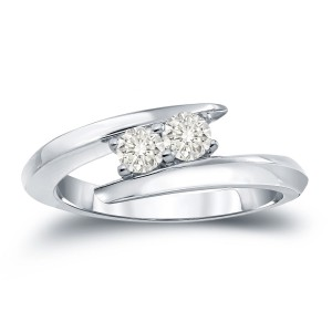 Gold 1/2ct TDW 2-Stone Round Cut Diamond Engagement Ring - Handcrafted By Name My Rings™