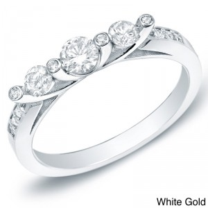 Gold 1/2ct TDW 3-stone Diamond Trellis Engagement Ring - Handcrafted By Name My Rings™