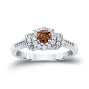 Gold 1/2ct TDW Brown Diamond Engagement Ring - Handcrafted By Name My Rings™