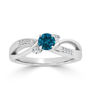 Gold 1/2ct TDW Bypass Blue Diamond Engagement Ring - Handcrafted By Name My Rings™