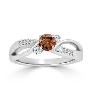 Gold 1/2ct TDW Bypass Brown Diamond Engagement Ring - Handcrafted By Name My Rings™