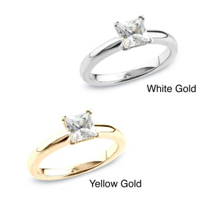 Gold 1/2ct TDW Certified Princess Diamond Solitaire Ring - Handcrafted By Name My Rings™