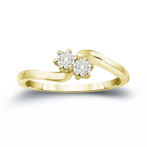 Gold 1/2ct TDW Round Cut Diamond 2-Stone Engagement Ring - Handcrafted By Name My Rings™