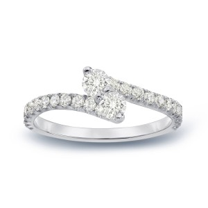 Gold 1/2ct TDW Round Cut Diamond 3-Prong 2-Stone Engagement Ring - Handcrafted By Name My Rings™