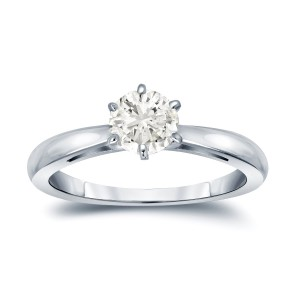 Gold 1/2ct TDW Round-Cut Diamond 6-Prong Solitaire Engagement Ring - Handcrafted By Name My Rings™