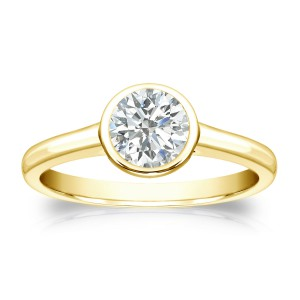 Gold 1/2ct TDW Round-cut Diamond Solitaire Bezel Engagement Ring - Handcrafted By Name My Rings™