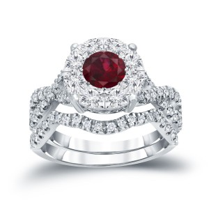 Gold 1/3ct Ruby and 7/8ct TDW Cluster Diamond Braided Bridal Ring Set - Handcrafted By Name My Rings™