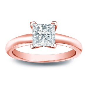 Gold 1/3ct TDW Princess-cut Diamond V-end Solitaire Engagement Ring - Handcrafted By Name My Rings™